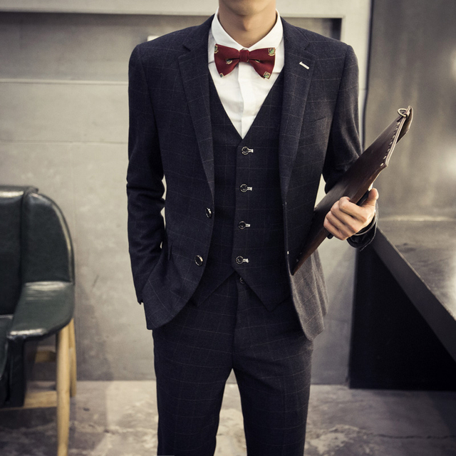 Retro xadrez para homens moda Slim Fit ternos de desenhos homme masculino Blazer casacos smoking traje 3 conjuntos