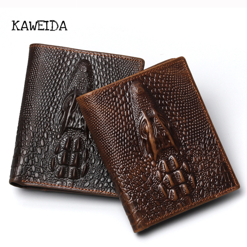 KAWEIDA Premium Genuine Leather Wallets For Men Premium Quality Classic Vintage Crocodile Bifold Card Carrier Purse Money Clip цена и фото