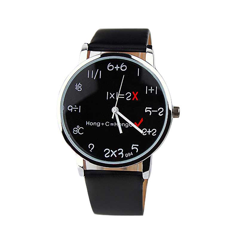 Cute Fashion Funny PU Leather Quartz Wrist Watch Clock For Women Men Couple Counting Watch LL