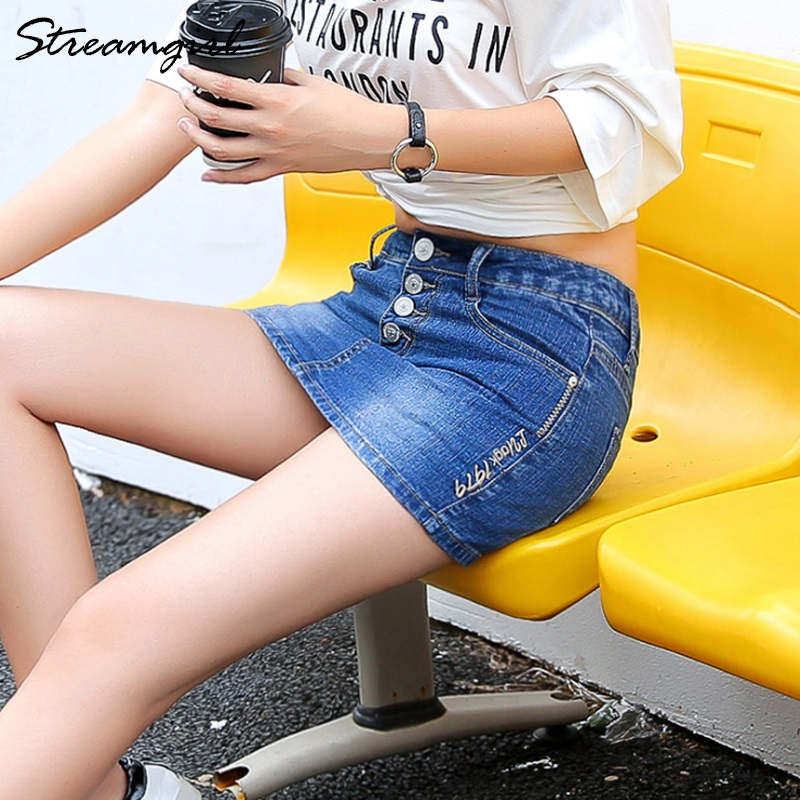 Image 5 - Streamgirl Denim Mini Skirt With Buttons Front Sexy Short Bandage Embroidery Skirt With Shorts Denim Women Micro Mini SkirtsSkirts   -