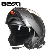 BEON двойные линзы флип 1000 м V3 Bluetooth Мотокросс Шлем Интерком гарнитура переговорные радио гоночный мотоцикл шлемы