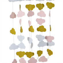 3m Gold Pink Cloud Creative Paper Garland Strings Wedding Party Birthday Baby Shower Hanging Decoration Bunting Banner