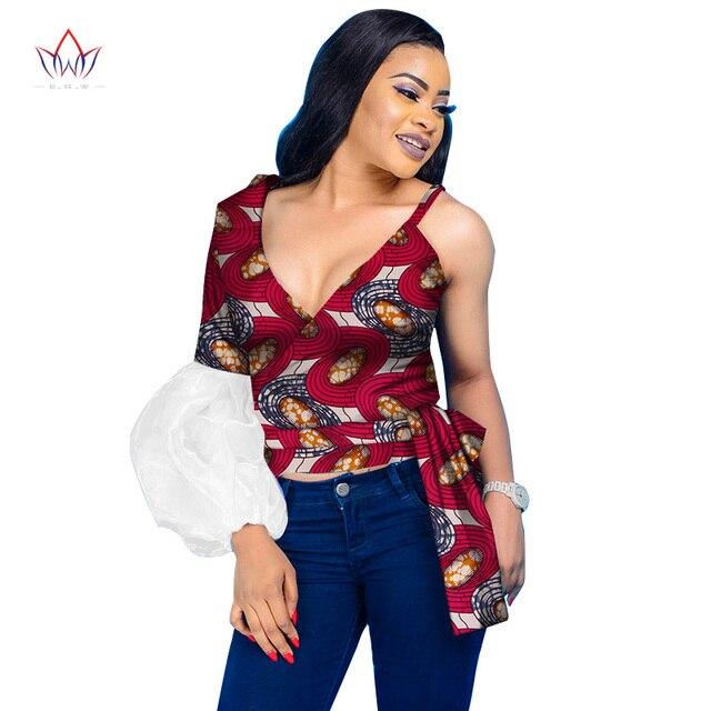Crop top 2019 Dashiki Women Sexy Shirts Custom Clothing Plus Size Africa  Wax Print Top Bazin Riche Brand Clothing WY2974 ad3f5c58b7b0