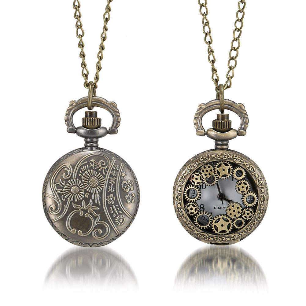 1 Pcs Men Women Bronze Quartz Pocket Watch Hollow Gear Carved Case With Chain LL@17