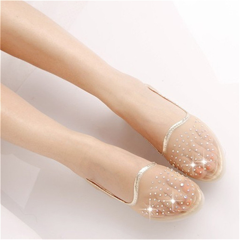 Fashion Transparent flat shoes gauze pointed diamond flat shoes crystal shoes lady flat non-slip soft-soled shoes 2016 summer style transparent sandals white gauze flat point diamond women s sandals flat shoes non slip soft bottom shose