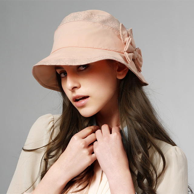 New Kenmont Summer Women Lady Girl Solid Color Polyamide Sun Protection Bucket Cap Sun Hat Beach Caps 0501