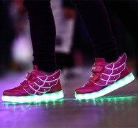 2017 bahar çocuk sneakers çocuk melek kanatları usb şarj aydınlık işıklı renkli led ışıkları casual shoes düz kız erkek shoes