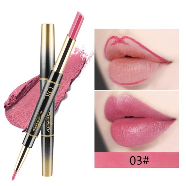 QIC Matte Lipstick Wateproof Double Ended Long Lasting Lipsticks Brand Lip Makeup Cosmetics Nude Dark Red Lips Liner Pencil 3