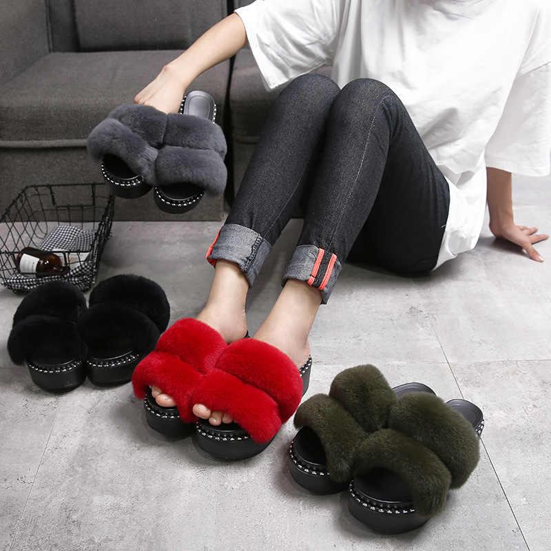 410d748381b456 fur slippers women double feather band platform sandals rivets studded  muffins summer shoes woman flip flops