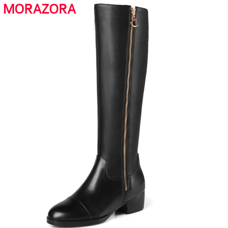 MORAZORA Big size 34-45 genuine leather + PU knee high boots zip solid high heels shoes top quality womens boots big size 34-45 memunia top quality over the knee boots fashion elegant womens boots female zip flock solid med heels shoes woman big size 34 44