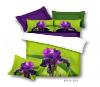 Purple Flowers Iris Queen Bedding Sets,Pure Cotton Bedroom Sets,3D Oil Painting Duvet Cover Bed Sheet Pillowcase for Sale