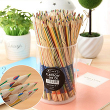 10 pcs/lot Wooden 4 Mixed Colors Standard Pencil Kawaii Rainbow Colored Pencils for For Kids Student Graffiti Drawing Painting