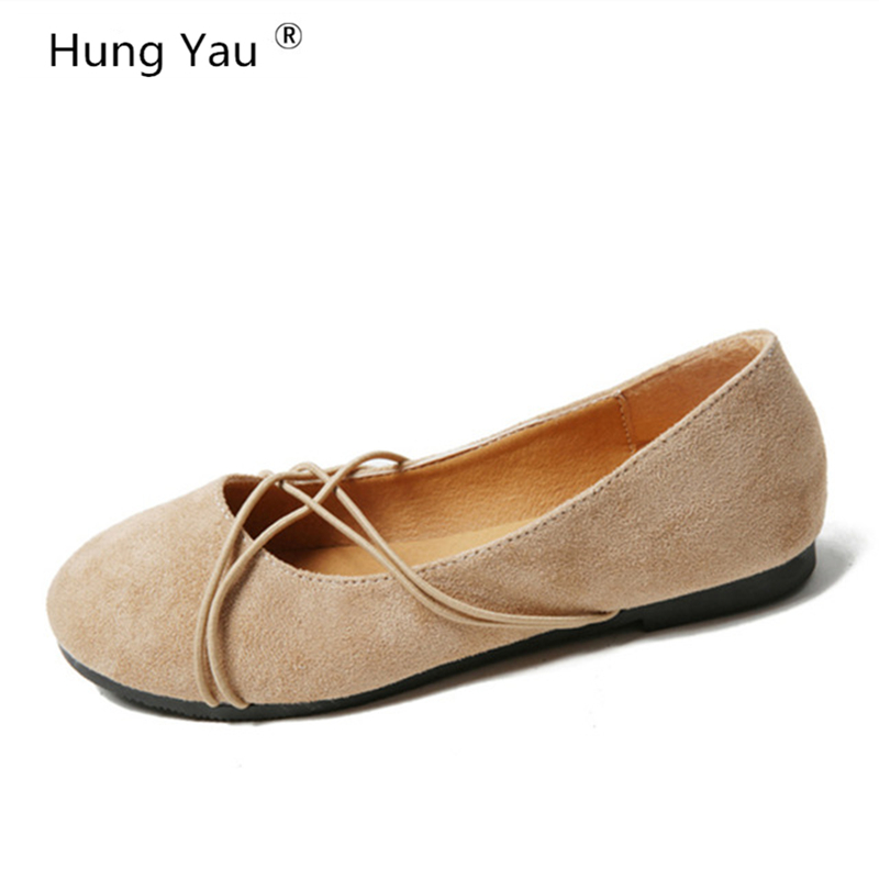 Hung Yau Women Loafers Soft Breathable Slip On Flats Shoes Woman Solid Casual Ladies Ballet Shoes Fashion Mother Shoes Size 8 women shoes 2018 new footwear slip on ballet hollow genuine breathable soft flat shoes women comfortable loafers shoes ladies