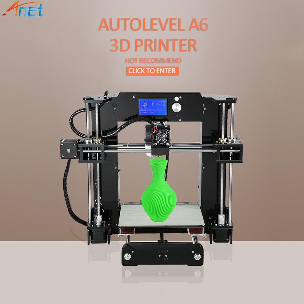 Анет Нормальная и autolevel A6 A8 3D-принтеры большой Размеры RepRap i3 3D-принтеры DIY Kit с Бесплатная нить SD Card очаг ЖК-дисплей подарок