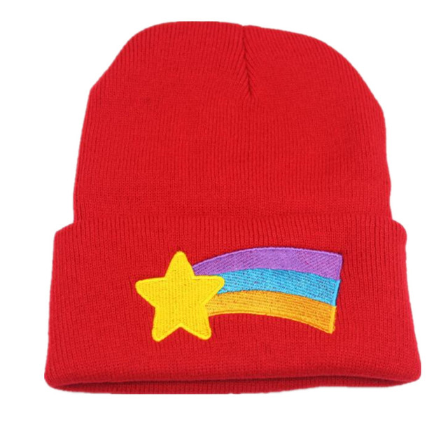 eac4d1e6e96 Girls Women Winter Warm Hat Gravity Falls Dipper Mabel Pines Red Knit  Beanie Shooting Star Anmation Nice Red Acrylic Hat