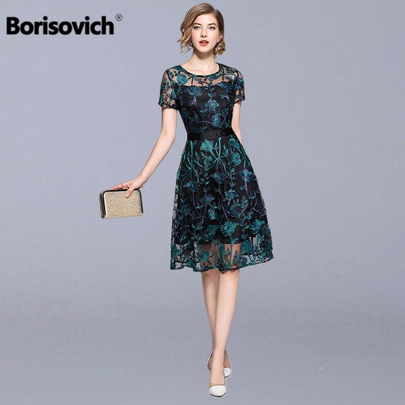 Borisovich Women Casual Dress New 2018 Summer Fashion Vintage Floral Embroidery Knee length A line Elegant Female Dresses M700