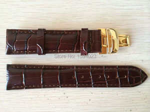 Image 4 - 20mm (Buckle18mm) T019430 High Quality gold Plated Pin Buckle + Brown Genuine Leather Watch Bands Strap