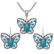 Jewelry Set Drop Earring Crystal Butterfly Pendant Necklace Set for Women (Green)(China)