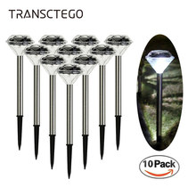 10 stücke Solar Led Licht Diamant Rasen Lampe Für Garten Dekoration Outdoor Solar Powered Stake Licht LED Straße Solar Lampe laterne(China)