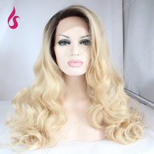 Hot Sale Synthetic Lace Front Wig Two Tone Ombre Blonde Wigs #1b/#613  150% Density Body Wave Glueless Lace Front Wigs!