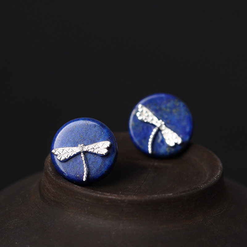 Flyleaf 925 Sterling Silver Round Lapis Lazuli Dragonfly Stud Earrings For Women Ethnic Style Lady Sterling-silver-jewelry