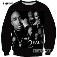 Liasoso pullover hip hop rock cantante hombres mujeres sudadera Sudaderas  3D impresión 2Pac Tupac Shakur manga 0c98cbd3eb4