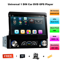 7 дюймов 1 Дин dvd-плеер Android 6.0.1 моторизованный Съемная 1080 P видео HD Сенсорный экран Automotivo автомобиля стерео