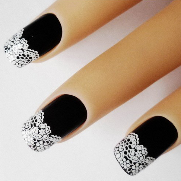 3D Nail Art 2 Pack French White Lace Flowers Stickers Adesivos ...