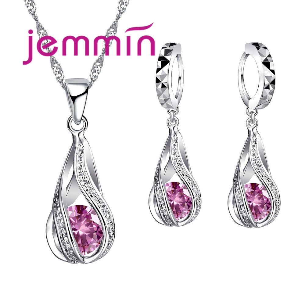 Lovely Gift Jewelry Sets For Wedding Engagement 925 Sterling Silver AAA CZ Cubic Zirconia Women Loop Earrings Pendant Necklace
