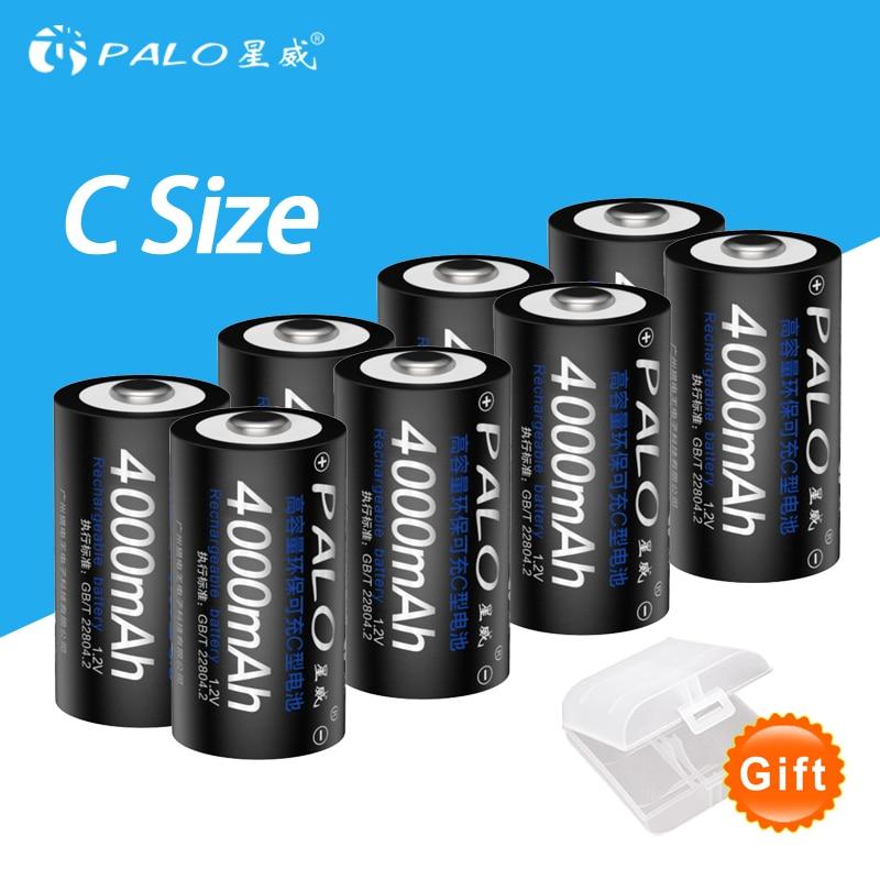 8pcs C Size Rechargeable Batteries 4000mah Batteria 1.2v Battery type c for radio flash light gas etc NI MH 1.2V C Size batterie