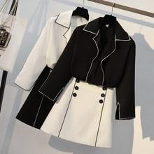 Одежда размера плюс для офисных леди Осенняя шифоновая блузка с длинным рукавом+ Высокая талия на пуговицах Короткая юбка комплект из двух предметов Рабочая одежда