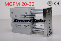 Free Shipping MGPM20 30 double action pneumatic cylinder compact guide slide bearing type three rod air cylinders
