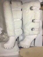 Женские зимние сапоги на платформе и высоком каблуке; повседневные Белые зимние теплые женские сапоги до колена на искусственном меху с пря