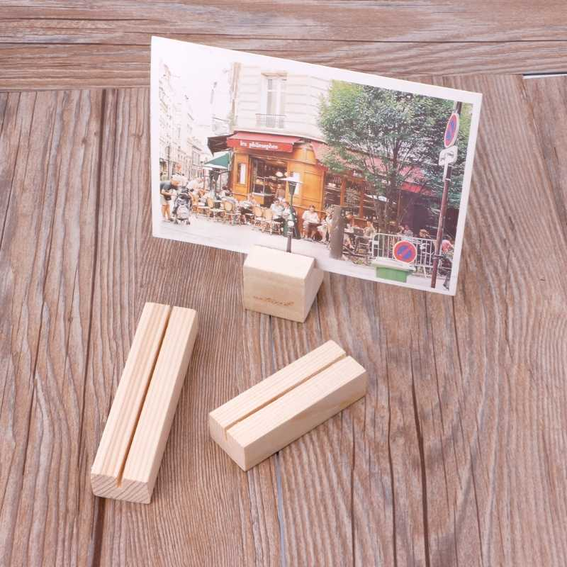Natural Wood Memo Clips Photo Holder Clamps Stand Card Desktop Message Crafts Nov-26A