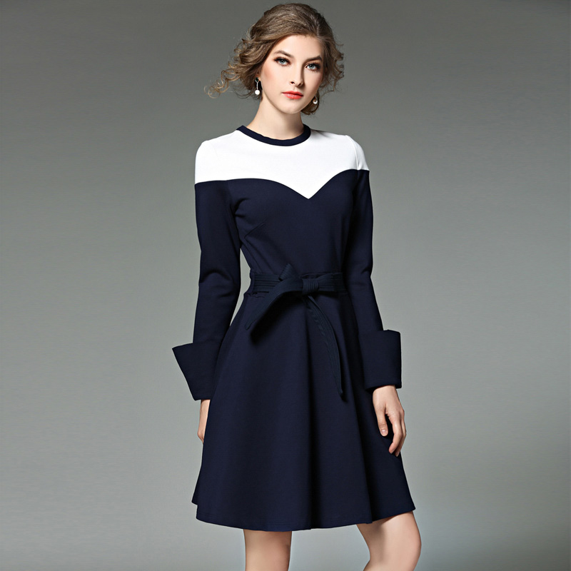 Women Autumn Winter Long Sleeve Stitching Royal blue Elegant Dresses Business Work Causal Fashion A-Line Dress L7442