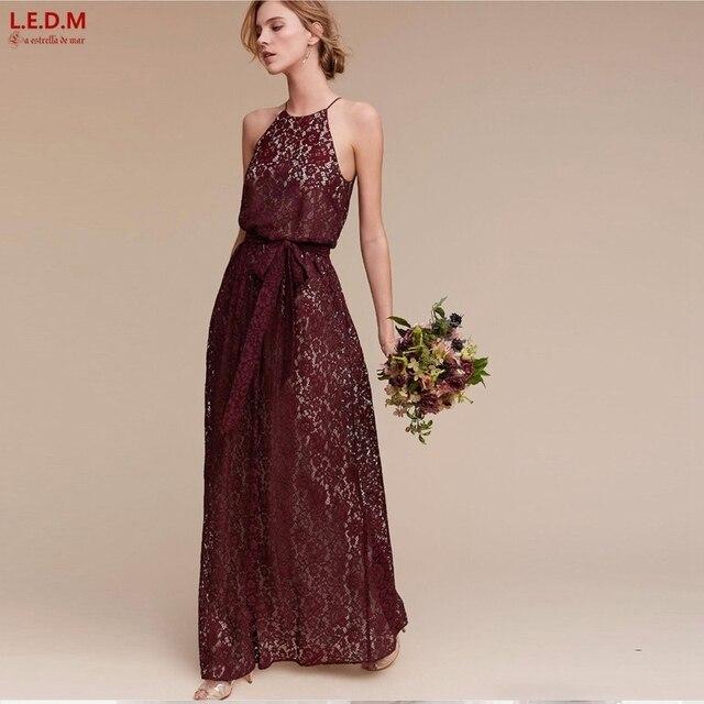 3b5dbb4af0e Vestidos de madrinha 2019 lace a line burgundy dusty rose bridesmaid  dresses bridesmaid dresses long Bohemian bridesmaid dress