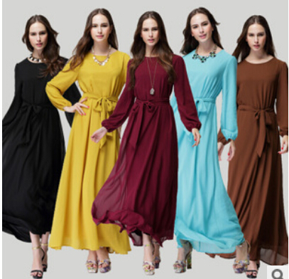 Free Shipping summer of Muslim women's new Sunday clothes temperament slim Dress Chiffon Dress
