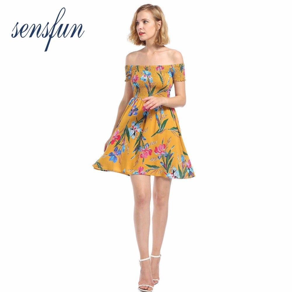 Sensfun 2018 Sexy Off shoulder Women Dresses Summer Mid Dress High Waist Streetwear Vestidos Floral Dress Feminie Ruffled
