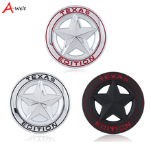 3D Metal TEXAS Emblem Shield Pentagram Emblem Badge Car Fender Side Tail Body Sticker For JEEP Wrangler Liberty Grand Cherokee