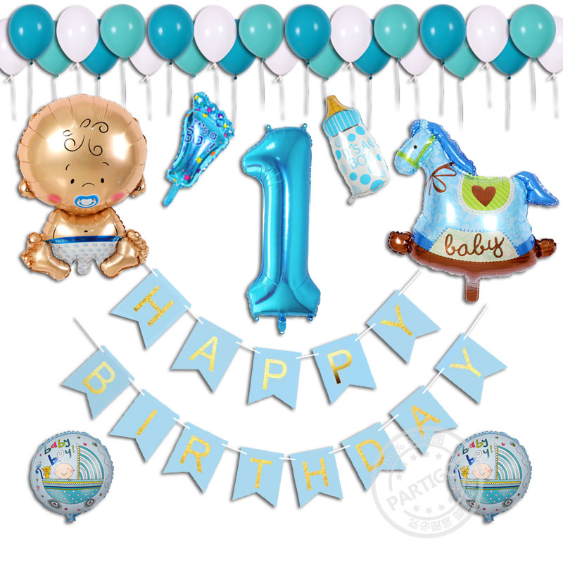 38pcs lot Baby Shower Birthday Boy Girl 1 Year Old Happy Birthday Inflated Helium Aluminum Foil
