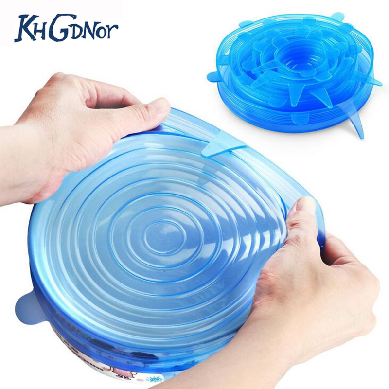 KHGDNOR 6pcs Food Wraps Reusable Silicone Food Fresh Keeping Sealed Covers Silicone Seal Vacuum Stretch Lids Saran Wraps