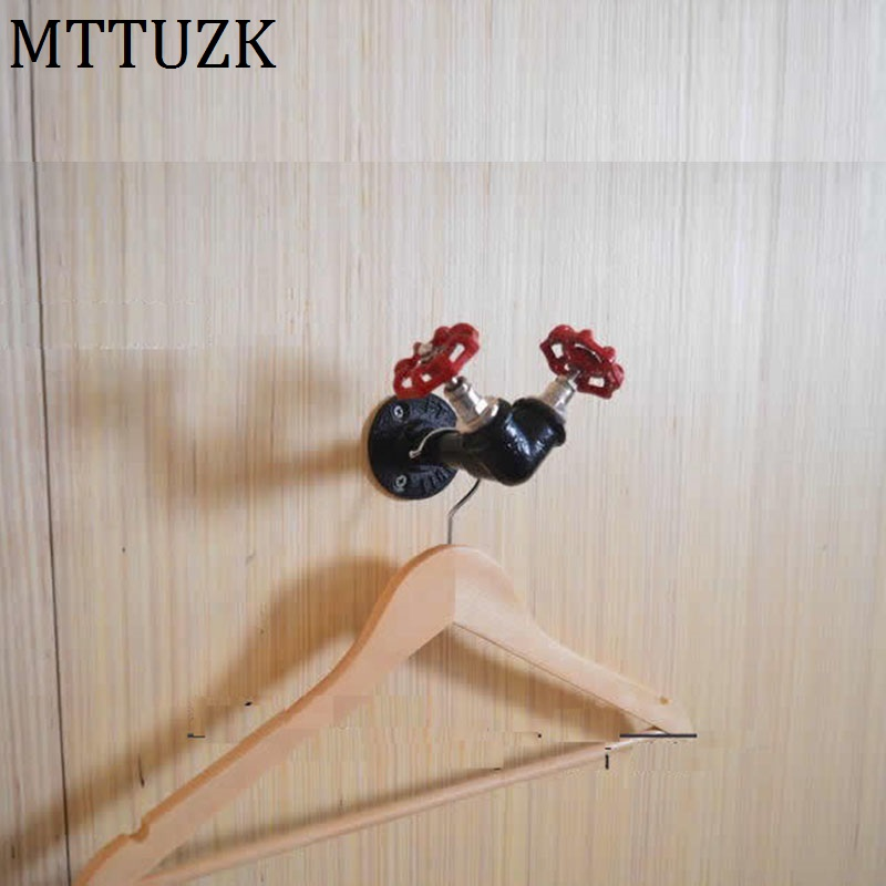 Mttuzk Vintage Industrial Steam Iron Water Pipe Tap Wall Robe Hook Hat Rack Holder Coat Hanger Kitchen Bathroom Accessorie Robe Hooks Home Improvement