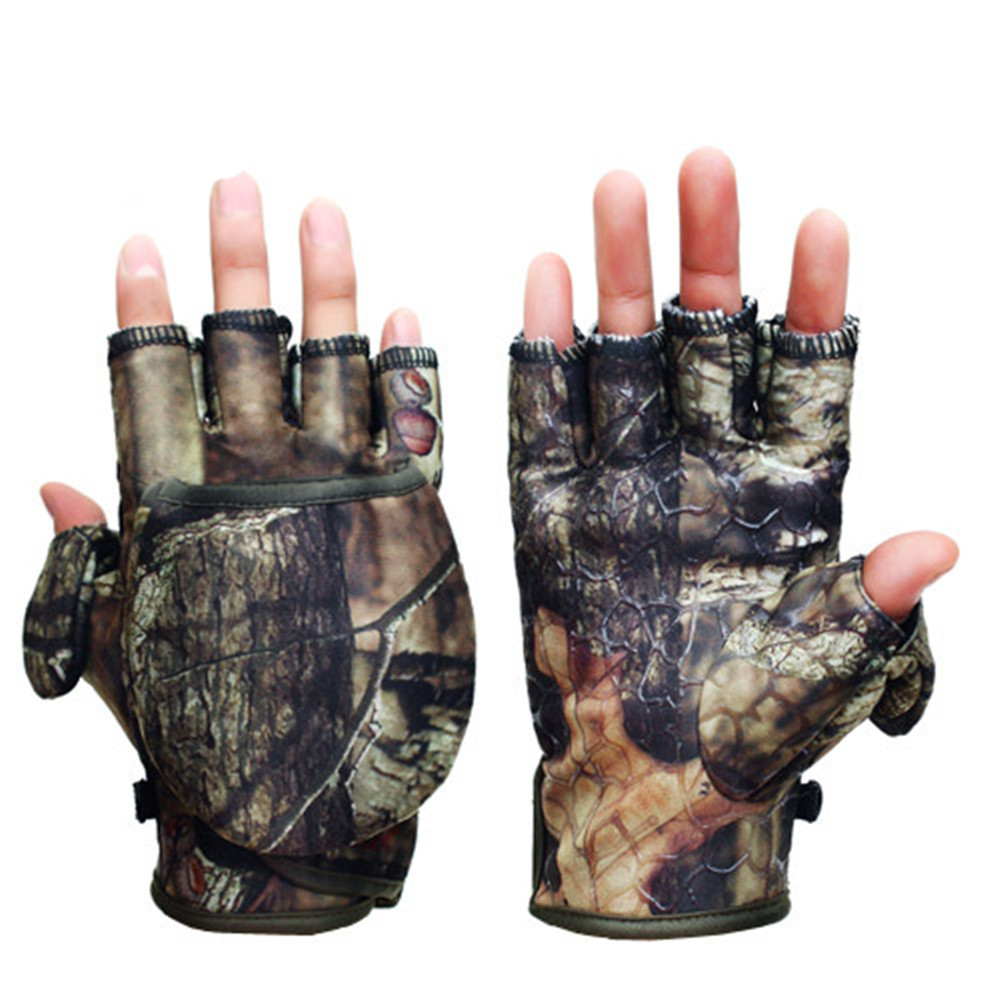 Fingerless gloves hunting - Outdoor Camouflage Men S Gloves Mitten Autumn Winter Windproof Hunting Photographing Gloves Clamshell Gloves China