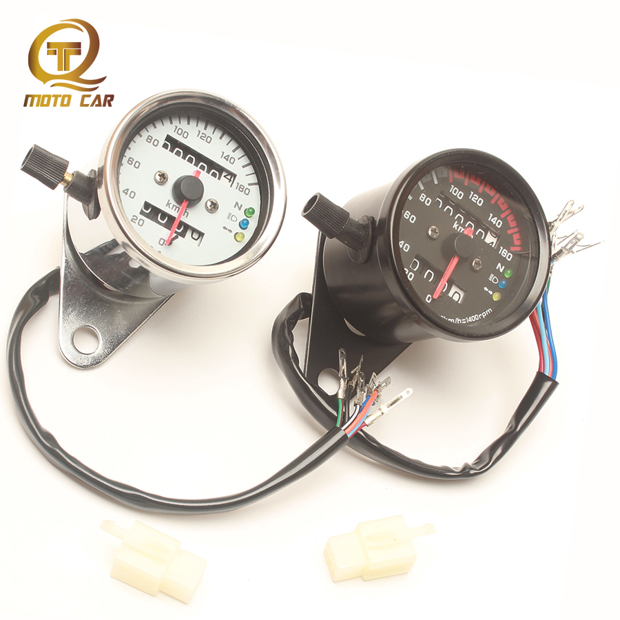 Universal Motorcycle Tachometer Speedometer Rpm Gauge Double Meter Adjustable Odometer LCD Backlight Tacho for Vintage Harley image