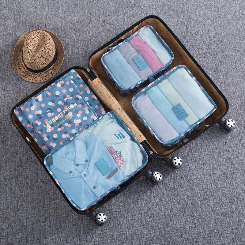 6pcs set Travel Storage Bags organizer luggage cosmetic Shoes Clothes Pouch kits Wholesale Bulk Lots Accessories