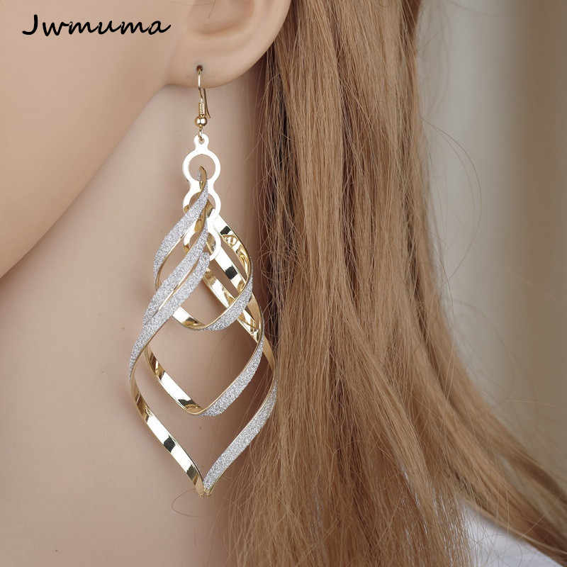 New Fashion Punk Wind Spiral Women's Earrings Personal Gold Silver Colour Scrub Earrings Metal Jewelry for Women Party Gift