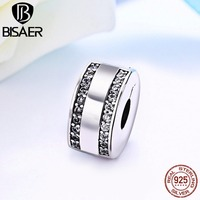 BISAER Authentic 925 Sterling Silver Interlinked Circles Clear CZ Beads Fit Pandora Charm Bracelet Jewelry Making