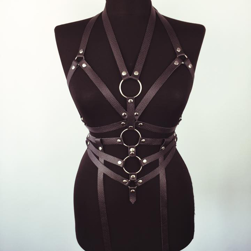 2018 Women Lingerie Gothic For Stockings Sword Belt Sexy Bondage Suspenders Garter Leather Harness Body Harness Bdsm Set Black
