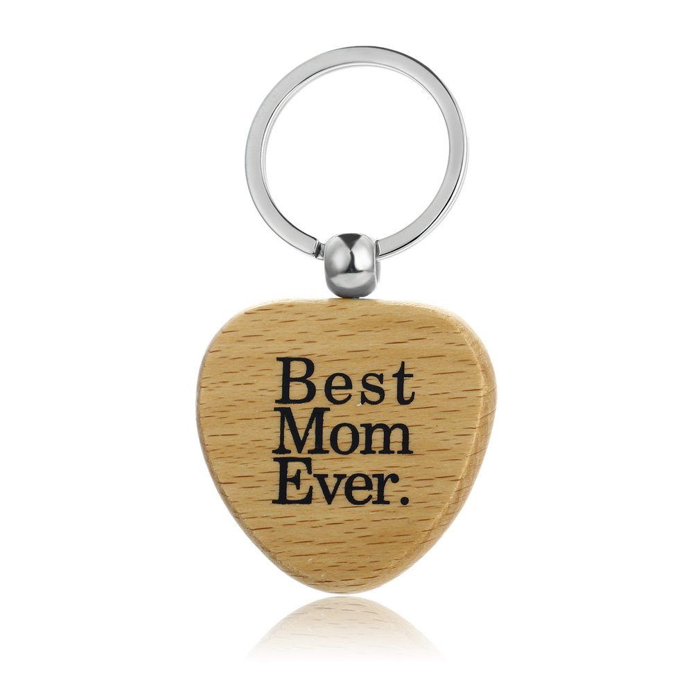 I Love You More Wood Wooden Round Key Chain