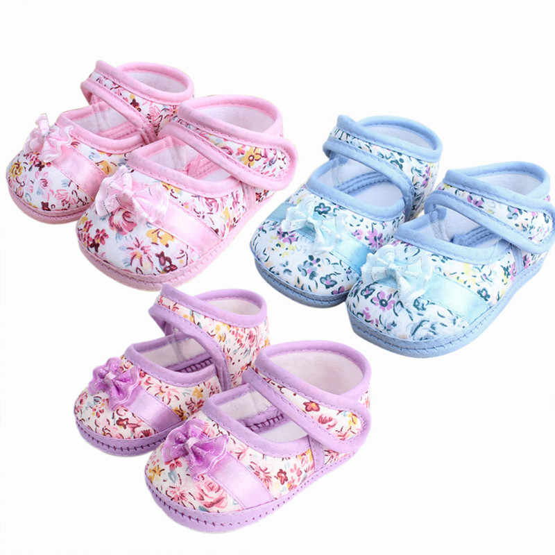 Lovely Newborn the first walker Baby Girls Toddler Shoes Flower Bowknot Cozy Crib baby shoes 0-12M